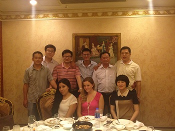 Having dinner with customers from Thailand and Mexico